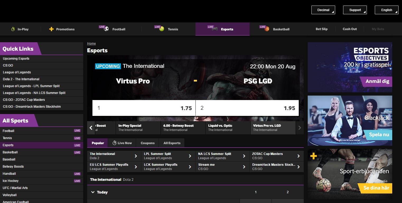 Betway eSports Screenshot